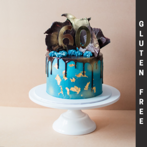 Gluten Free Blue cake with chocolate drip and shards