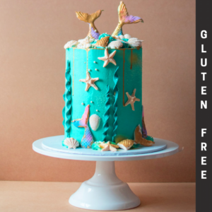 Gluten free mermaid cake with blue icing