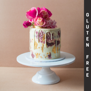 Gluten Free Vintage Cake with flowers and white chocolate drip