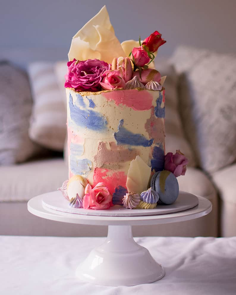Watercolour simple cake by Ruwi's Cakes Melbourne