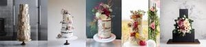 multiple images of wedding cake trends in 2020