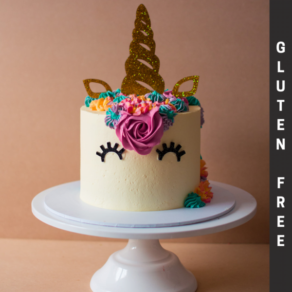 Gluten Free Unicorn Cake with Colourful Icing