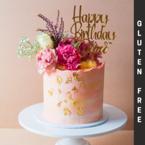 Gluten Free rose cake with gold flakes and flowers