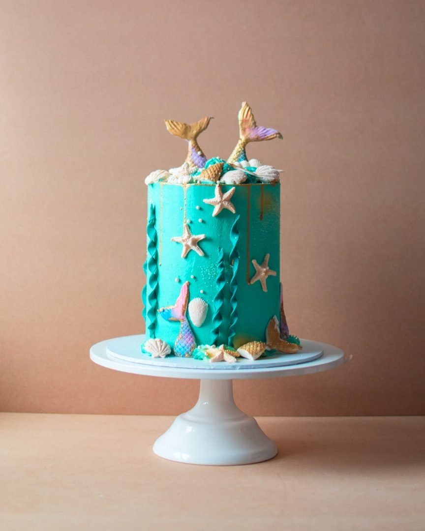 Kid's birthday cake with ocean theme and mermaids