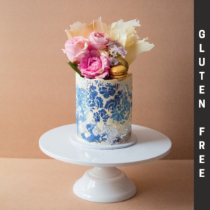 Gluten free blue and silver cake image