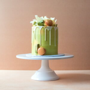 Matcha cake with white chocolate drip cake