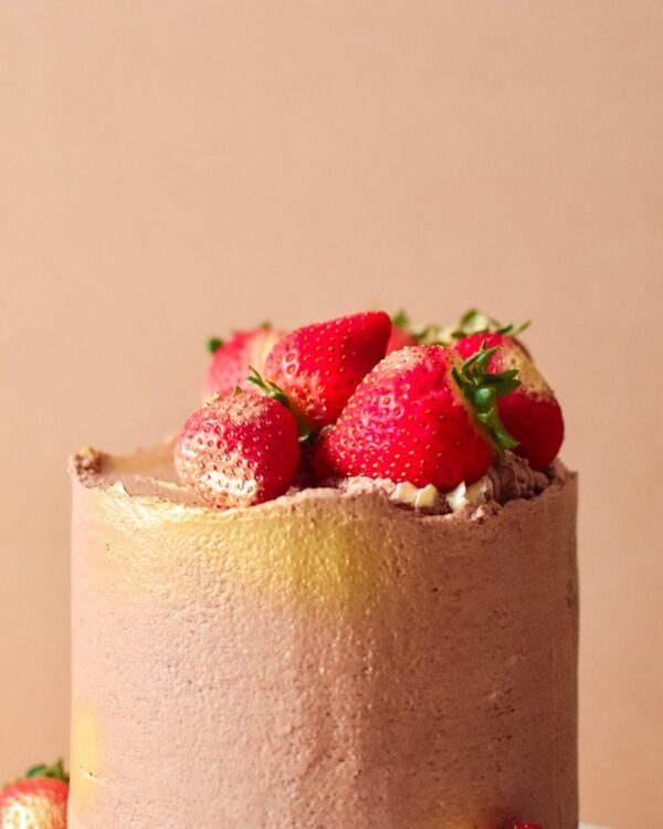 a close up image of a chocolate based cake with strawberries on top
