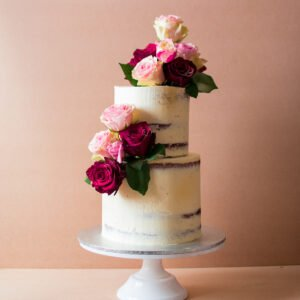 Two tier wedding cake with roses